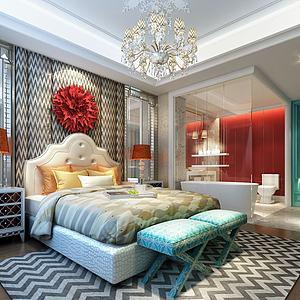 现代卧室洗浴套间模型