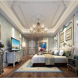 歐式床吊頂壁畫模型3d模型