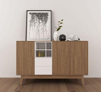 实木边柜装饰画摆件组合