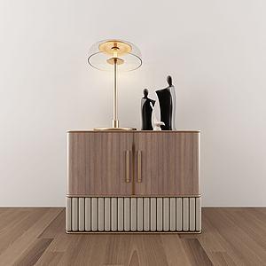 中式边柜台灯组合模型3d模型
