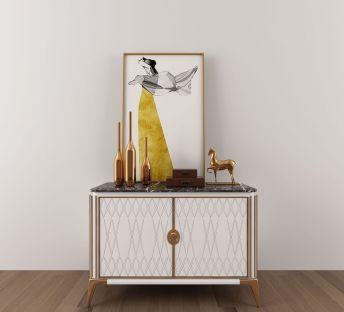 现代边柜摆件装饰画