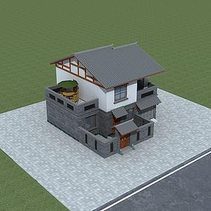 中式民居院落模型3d模型