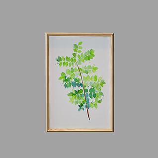 树叶植物画3d模型