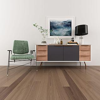 现代边柜摆件组合单椅3d模型
