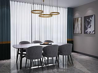 餐桌椅吊灯组合3d模型