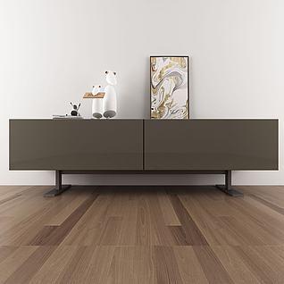 现代边柜单椅组合3d模型