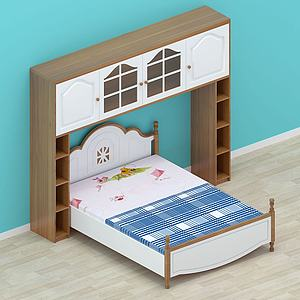 简约双人床柜子模型