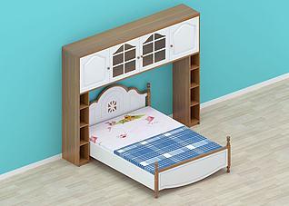 简约双人床柜子3d模型