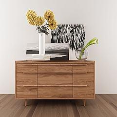 实木北欧边柜摆件花瓶组合模型3d模型