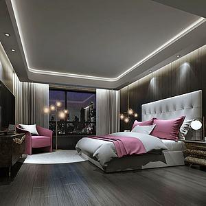 簡約酒店客房模型3d模型