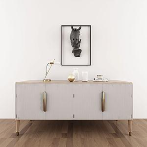 現代復古邊柜墻飾組合模型3d模型