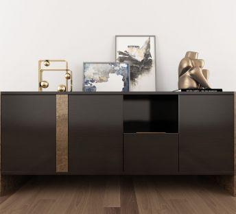 现代实木边柜摆件