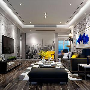 大樓壁畫客廳模型3d模型