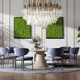 餐桌椅组合水晶吊灯模型