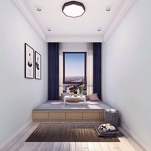 現代榻榻米臥室3d模型
