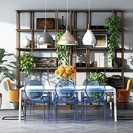餐桌椅木制置物架组合模型