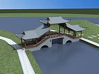 古建风雨桥3d模型
