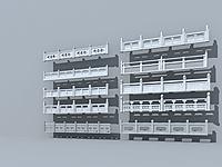 石头栏杆护栏3d模型