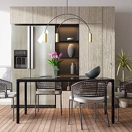 简易桌椅置物架模型