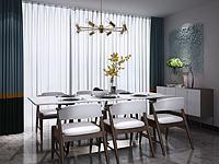 新中式餐桌椅吊灯组合3d模型