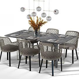 藤编餐桌椅组合模型