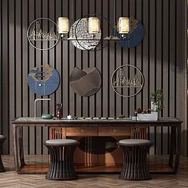 现代泡茶桌椅组合模型