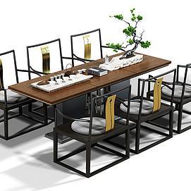 创意桌椅泡茶桌椅组合模型