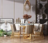 现代风格餐桌椅组合3d模型