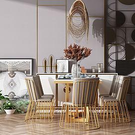 现代风格餐桌椅组合模型