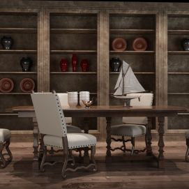 美式餐桌椅组合模型