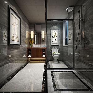 中式酒店衛生間模型3d模型