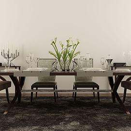 现代中式餐桌椅组合模型