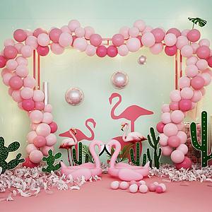 3d愛心氣球造型墻火烈鳥擺件模型