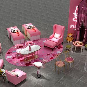 粉色美容展廳模型3d模型