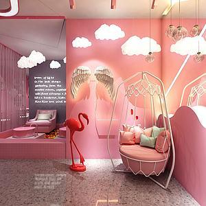 3d網紅粉紅主題美容店模型