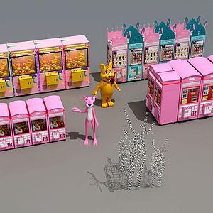 現代游戲廳粉紅抓娃娃機模型3d模型