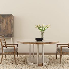 现代实木餐桌椅组合模型