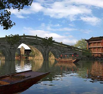 公园古建筑房子桥船