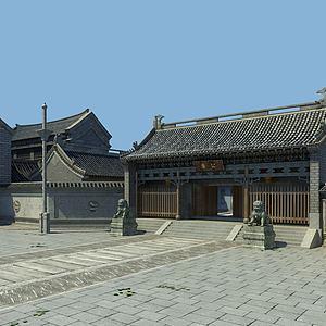 古建廊亭大殿街道模型3d模型