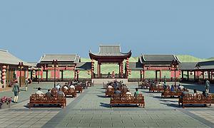 中式古建戏台3d模型