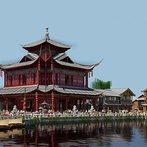 公園廊亭古建筑模型3d模型