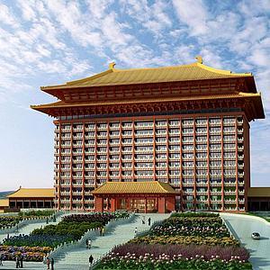 3d中式礼堂建筑模型