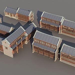 古城古建筑排房模型3d模型