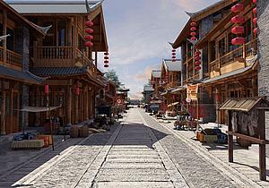 古建筑步行街特色小吃街3d模型
