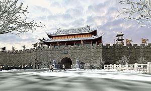 城墙城楼古建筑3d模型