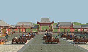 中式古建戲臺模型3d模型