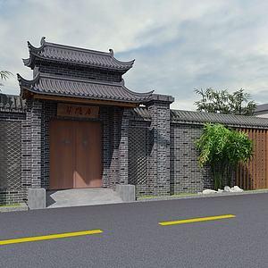 古建房屋門頭模型3d模型