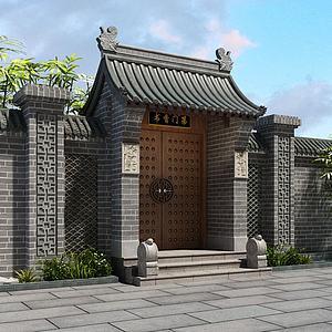 門頭庭院古建模型3d模型