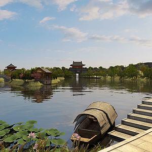 公园塔楼湖面荷花船3d模型