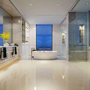 酒店客房洗手間浴缸模型3d模型